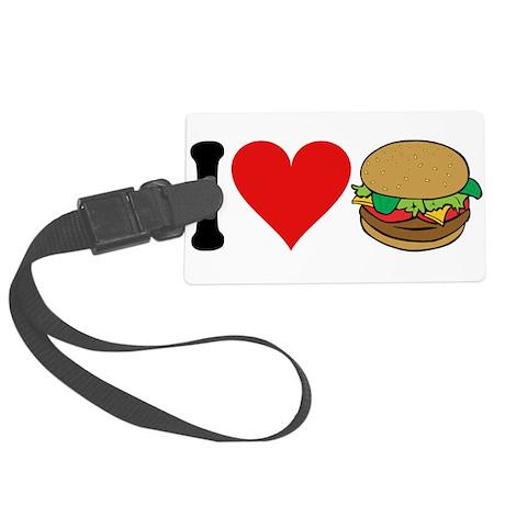 3-ilovehamburgersblk.png Large Luggage Tag