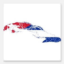 "Cuba Flag And Map Square Car Magnet 3"" x 3"""