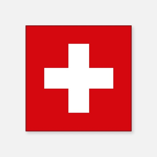 "Switzerland Flag Square Sticker 3"" x 3"""