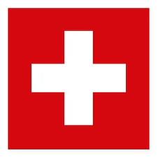 """Switzerland Flag Square Car Magnet 3"""" x 3"""""""