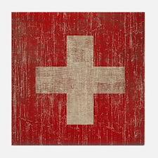 Vintage Switzerland Flag Tile Coaster