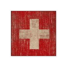 """Vintage Switzerland Flag Square Sticker 3"""" x 3"""""""