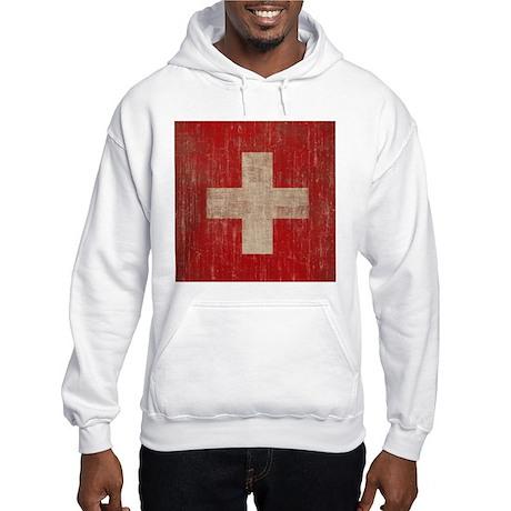 Vintage Switzerland Flag Hooded Sweatshirt