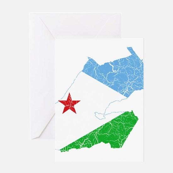 Djibouti Flag And Map Greeting Card