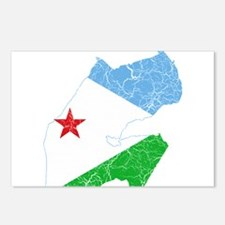 Djibouti Flag And Map Postcards (Package of 8)