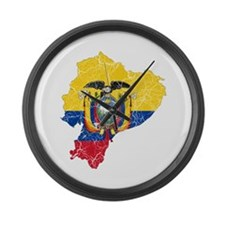 Ecuador Flag And Map Large Wall Clock