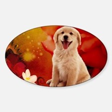 Sweet golden retriever with heart and flowers Stic