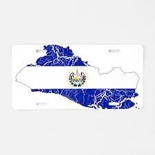 El Salvador Flag And Map Aluminum License Plate
