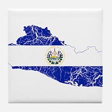 El Salvador Flag And Map Tile Coaster
