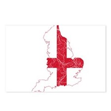England Flag And Map Postcards (Package of 8)