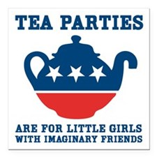 "Tea Parties Square Car Magnet 3"" x 3"""