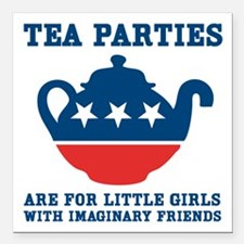 "Tea Parties Square Car Magnet 3"" x 3"""