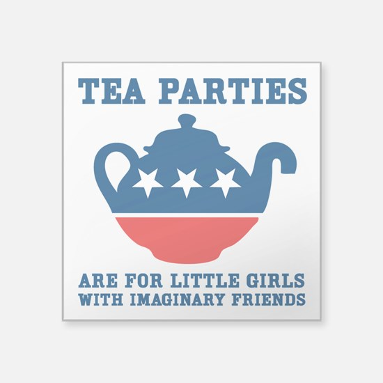 "Tea Parties Square Sticker 3"" x 3"""