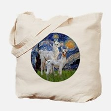 Starry Night with two Baby Llamas Tote Bag
