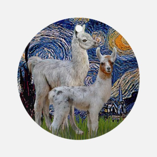 Starry Night with two Baby Llamas Ornament (Round)