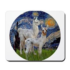 Starry Night with two Baby Llamas Mousepad