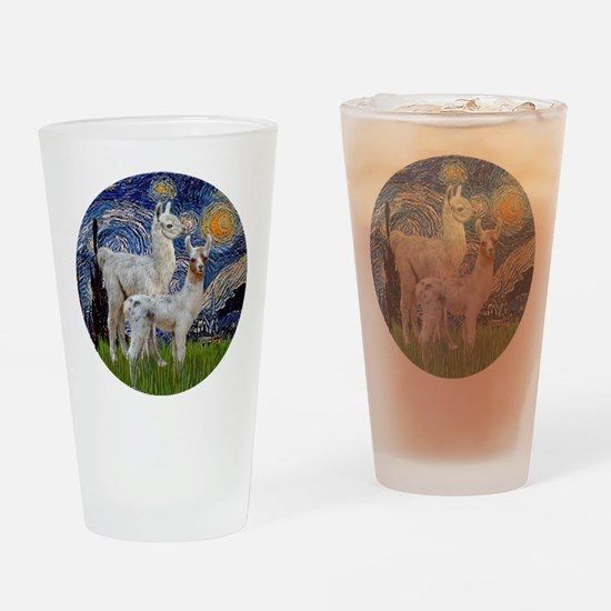 Starry Night with two Baby Llamas Drinking Glass