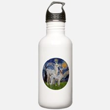 Starry Night with two Baby Llamas Water Bottle