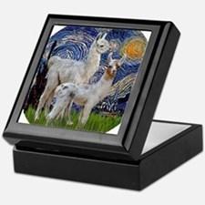 Starry Night with two Baby Llamas Keepsake Box