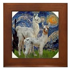 Starry Night with two Baby Llamas Framed Tile