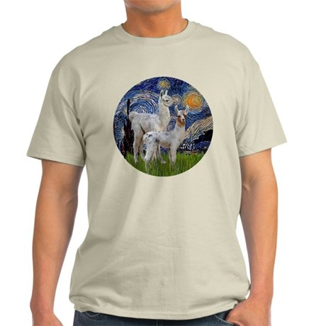 Starry Night with two Baby Llamas Light T-Shirt
