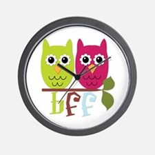 BFF Best Friends Forever Owls Wall Clock