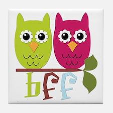BFF Best Friends Forever Owls Tile Coaster