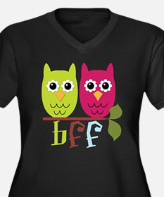BFF Best Friends Forever Owls Women's Plus Size V-
