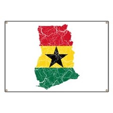 Ghana Flag And Map Banner