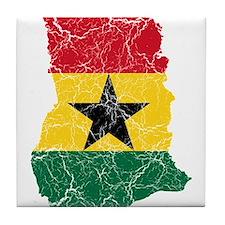 Ghana Flag And Map Tile Coaster