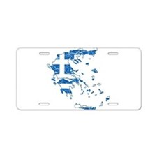 Greece Flag And Map Aluminum License Plate