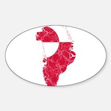 Greenland Flag And Map Sticker (Oval)