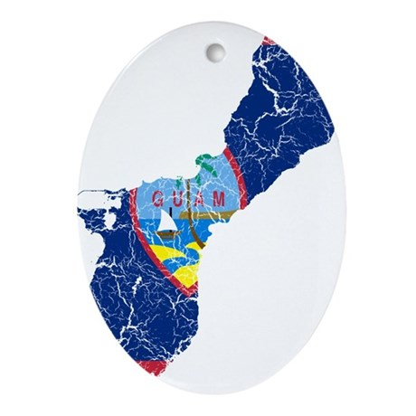 Guam Flag And Map Ornament (Oval)