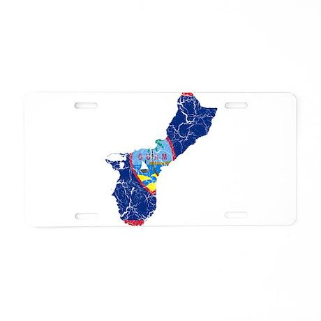 Guam Flag And Map Aluminum License Plate