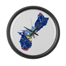Guam Flag And Map Large Wall Clock