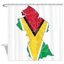 Guyana Flag And Map Shower Curtain