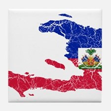 Haiti Flag And Map Tile Coaster