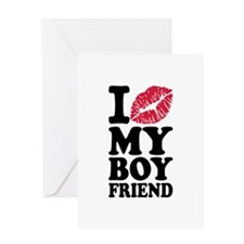 I love my boyfriend kiss Greeting Card