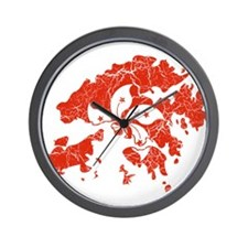 Hon Kong Flag And Map Wall Clock