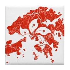 Hon Kong Flag And Map Tile Coaster