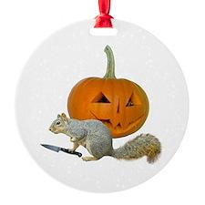 Squirrel Carving Pumpkin Ornament