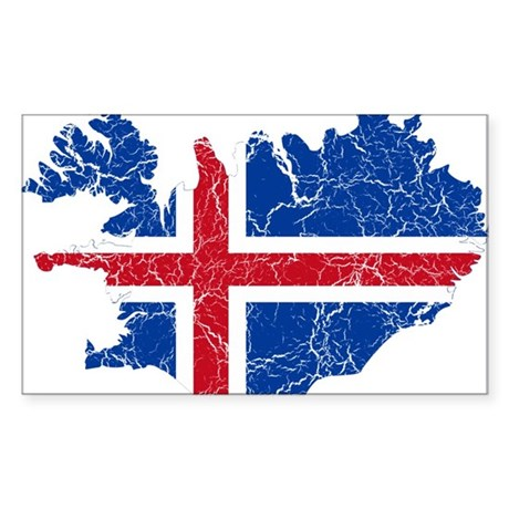 Iceland Flag And Map Sticker (Rectangle)