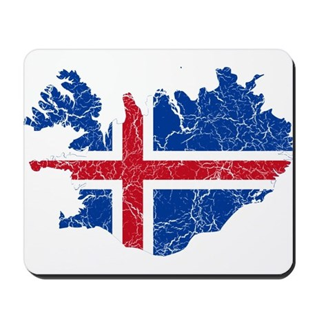 Iceland Flag And Map Mousepad