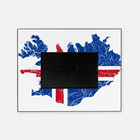 Iceland Flag And Map Picture Frame