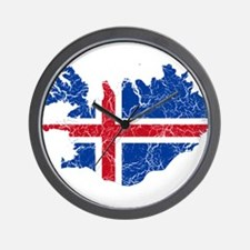 Iceland Flag And Map Wall Clock