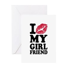 I love my girlfriend kiss Greeting Card