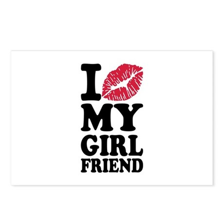 I love my girlfriend kiss Postcards (Package of 8)