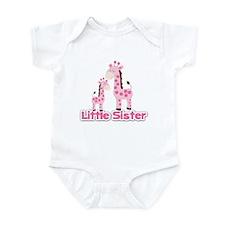 Little Sister Pink Giraffes Siblin Infant Bodysuit