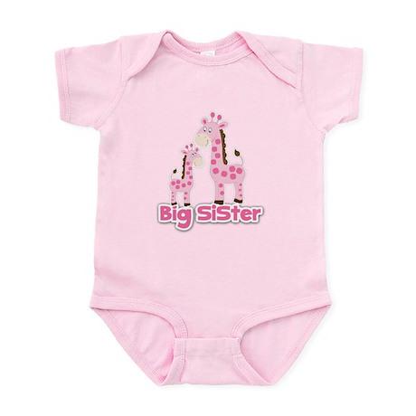 Big Sister Pink Giraffes Infant Body Suit