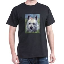Westie with Flowers Dark T-Shirt